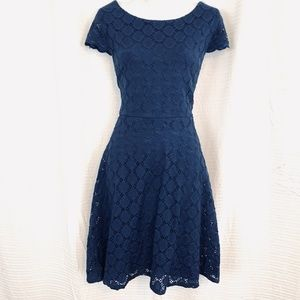 RONNI NICOLE Eyelet Navy Skater Dress Lined sz 12